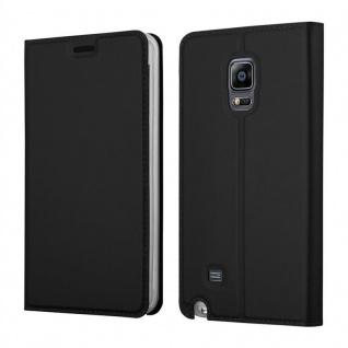 Cadorabo Hülle für Samsung Galaxy NOTE EDGE in CLASSY SCHWARZ - Handyhülle mit Magnetverschluss, Standfunktion und Kartenfach - Case Cover Schutzhülle Etui Tasche Book Klapp Style