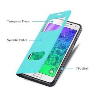 Cadorabo Hülle für Samsung Galaxy ALPHA in MINT TÜRKIS - Handyhülle mit Magnetverschluss, Standfunktion und 2 Sichtfenstern - Case Cover Schutzhülle Etui Tasche Book Klapp Style - Vorschau 3