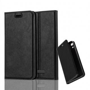 Cadorabo Hülle für WIKO LENNY 4 in NACHT SCHWARZ Handyhülle mit Magnetverschluss, Standfunktion und Kartenfach Case Cover Schutzhülle Etui Tasche Book Klapp Style