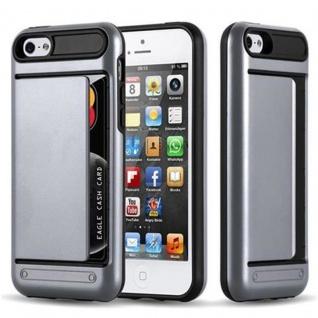 Cadorabo Hülle für Apple iPhone 5 / iPhone 5S / iPhone SE - Hülle in ARMOR SILBER ? Handyhülle mit Kartenfach - Hard Case TPU Silikon Schutzhülle für Hybrid Cover im Outdoor Heavy Duty Design