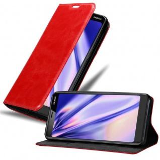 Cadorabo Hülle für Nokia 5.1 2018 in APFEL ROT Handyhülle mit Magnetverschluss, Standfunktion und Kartenfach Case Cover Schutzhülle Etui Tasche Book Klapp Style