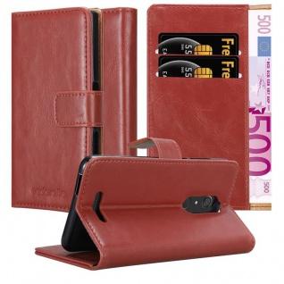Cadorabo Hülle für WIKO VIEW in WEIN ROT Handyhülle mit Magnetverschluss, Standfunktion und Kartenfach Case Cover Schutzhülle Etui Tasche Book Klapp Style