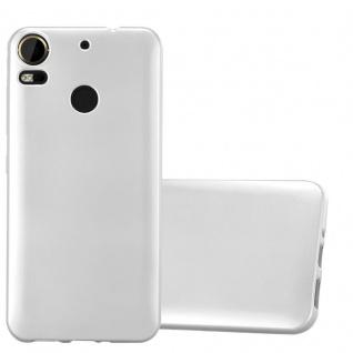 Cadorabo Hülle für HTC Desire 10 PRO in METALLIC SILBER - Handyhülle aus flexiblem TPU Silikon - Silikonhülle Schutzhülle Ultra Slim Soft Back Cover Case Bumper