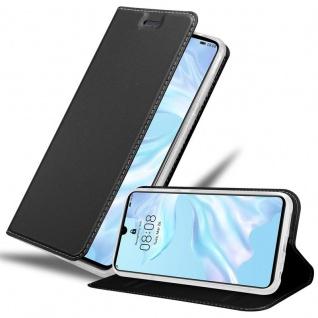 Cadorabo Hülle für Huawei P30 in CLASSY SCHWARZ - Handyhülle mit Magnetverschluss, Standfunktion und Kartenfach - Case Cover Schutzhülle Etui Tasche Book Klapp Style