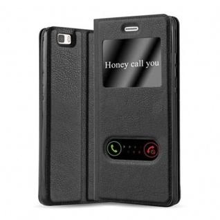 Cadorabo Hülle für Huawei P8 LITE 2015 in KOMETEN SCHWARZ ? Handyhülle mit Magnetverschluss, Standfunktion und 2 Sichtfenstern ? Case Cover Schutzhülle Etui Tasche Book Klapp Style