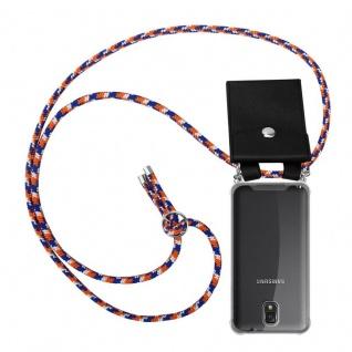 Cadorabo Handy Kette für Samsung Galaxy NOTE 3 in ORANGE BLAU WEISS - Silikon Necklace Umhänge Hülle mit Silber Ringen, Kordel Band Schnur und abnehmbarem Etui - Schutzhülle