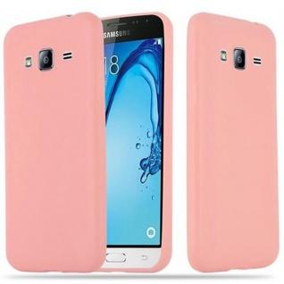 Cadorabo Hülle für Samsung Galaxy J3 2015 in CANDY ROSA - Handyhülle aus flexiblem TPU Silikon - Silikonhülle Schutzhülle Ultra Slim Soft Back Cover Case Bumper