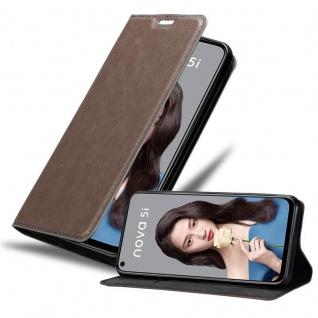 Cadorabo Hülle für Huawei NOVA 5i / P20 LITE 2019 in KAFFEE BRAUN - Handyhülle mit Magnetverschluss, Standfunktion und Kartenfach - Case Cover Schutzhülle Etui Tasche Book Klapp Style