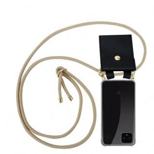 Cadorabo Handy Kette für Google Pixel 4 in GLÄNZEND BRAUN - Silikon Necklace Umhänge Hülle mit Gold Ringen, Kordel Band Schnur und abnehmbarem Etui ? Schutzhülle