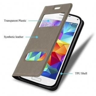Cadorabo Hülle für Samsung Galaxy S5 MINI / S5 MINI DUOS in STEIN BRAUN ? Handyhülle mit Magnetverschluss, Standfunktion und 2 Sichtfenstern ? Case Cover Schutzhülle Etui Tasche Book Klapp Style - Vorschau 3