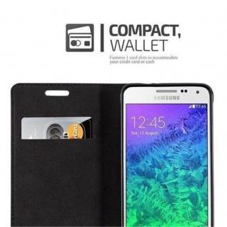 Cadorabo Hülle für Samsung Galaxy ALPHA in CAPPUCCINO BRAUN - Handyhülle mit Magnetverschluss, Standfunktion und Kartenfach - Case Cover Schutzhülle Etui Tasche Book Klapp Style - Vorschau 3