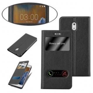 Cadorabo Hülle für Nokia 3 2017 in KOMETEN SCHWARZ - Handyhülle mit Magnetverschluss, Standfunktion und 2 Sichtfenstern - Case Cover Schutzhülle Etui Tasche Book Klapp Style - Vorschau 4