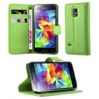 Cadorabo Hülle für Samsung Galaxy S5 MINI / S5 MINI DUOS in MINZ GRÜN Handyhülle mit Magnetverschluss, Standfunktion und Kartenfach Case Cover Schutzhülle Etui Tasche Book Klapp Style