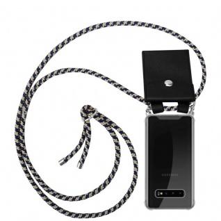 Cadorabo Handy Kette für Samsung Galaxy S10 in DUNKELBLAU GELB - Silikon Necklace Umhänge Hülle mit Silber Ringen, Kordel Band Schnur und abnehmbarem Etui - Schutzhülle