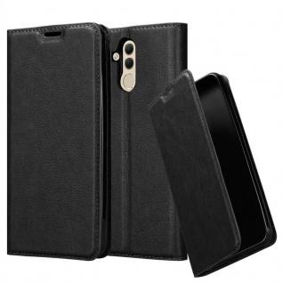 Cadorabo Hülle für Huawei MATE 20 LITE in NACHT SCHWARZ - Handyhülle mit Magnetverschluss, Standfunktion und Kartenfach - Case Cover Schutzhülle Etui Tasche Book Klapp Style
