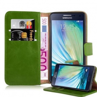 Cadorabo Hülle für Samsung Galaxy A5 2015 in GRAS GRÜN - Handyhülle mit Magnetverschluss, Standfunktion und Kartenfach - Case Cover Schutzhülle Etui Tasche Book Klapp Style