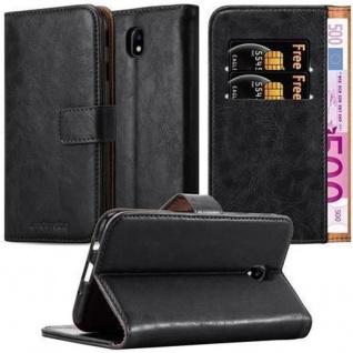 Cadorabo Hülle für Samsung Galaxy J3 2017 in GRAPHIT SCHWARZ ? Handyhülle mit Magnetverschluss, Standfunktion und Kartenfach ? Case Cover Schutzhülle Etui Tasche Book Klapp Style