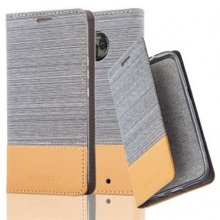 Cadorabo Hülle für Motorola MOTO X4 in HELL GRAU BRAUN - Handyhülle mit Magnetverschluss, Standfunktion und Kartenfach - Case Cover Schutzhülle Etui Tasche Book Klapp Style