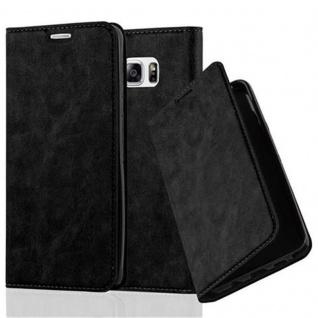 Cadorabo Hülle für Samsung Galaxy NOTE 5 in NACHT SCHWARZ - Handyhülle mit Magnetverschluss, Standfunktion und Kartenfach - Case Cover Schutzhülle Etui Tasche Book Klapp Style