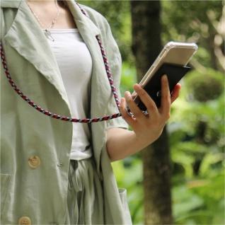 Cadorabo Handy Kette für Apple iPhone 8 PLUS / 7 PLUS / 7S PLUS in ROT BLAU WEISS - Silikon Necklace Umhänge Hülle mit Silber Ringen, Kordel Band Schnur und abnehmbarem Etui - Schutzhülle - Vorschau 3