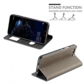 Cadorabo Hülle für Huawei P10 in STEIN BRAUN - Handyhülle mit Magnetverschluss, Standfunktion und 2 Sichtfenstern - Case Cover Schutzhülle Etui Tasche Book Klapp Style - Vorschau 5