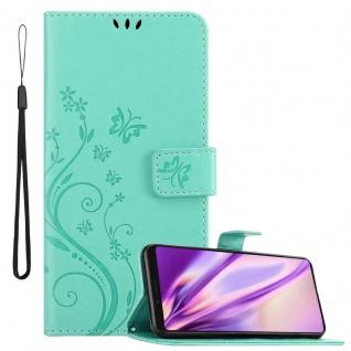 Cadorabo Hülle für Sony Xperia 1 / Xperia XZ4 in FLORAL TÜRKIS Handyhülle im Blumen Design mit Magnetverschluss, Standfunktion und 3 Kartenfächern Case Cover Schutzhülle Etui Tasche