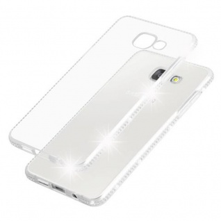 Cadorabo Hülle für Samsung Galaxy A5 2016 - Hülle in TRANSPARENT WEIß ? Handyhülle aus TPU Silikon im Strass Design - Silikonhülle Schutzhülle Ultra Slim Soft Back Cover Case Bumper - Vorschau 5