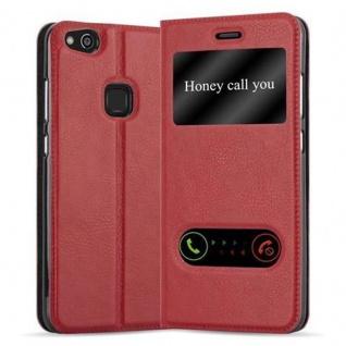 Cadorabo Hülle für Huawei P10 LITE in SAFRAN ROT - Handyhülle mit Magnetverschluss, Standfunktion und 2 Sichtfenstern - Case Cover Schutzhülle Etui Tasche Book Klapp Style
