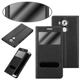 Cadorabo Hülle für Huawei MATE 8 in KOMETEN SCHWARZ - Handyhülle mit Magnetverschluss, Standfunktion und 2 Sichtfenstern - Case Cover Schutzhülle Etui Tasche Book Klapp Style - Vorschau 3