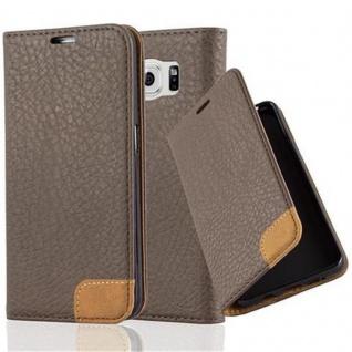 Cadorabo Hülle für Samsung Galaxy S6 - Hülle in ERD BRAUN - Handyhülle mit Standfunktion, Kartenfach und Textil-Patch - Case Cover Schutzhülle Etui Tasche Book Klapp Style