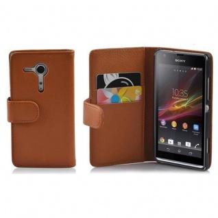 Cadorabo Hülle für Sony Xperia SP in COGNAC BRAUN - Handyhülle aus strukturiertem Kunstleder mit Standfunktion und Kartenfach - Case Cover Schutzhülle Etui Tasche Book Klapp Style