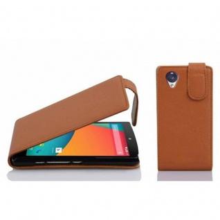 Cadorabo Hülle für LG NEXUS 5 in COGNAC BRAUN - Handyhülle im Flip Design aus strukturiertem Kunstleder - Case Cover Schutzhülle Etui Tasche Book Klapp Style