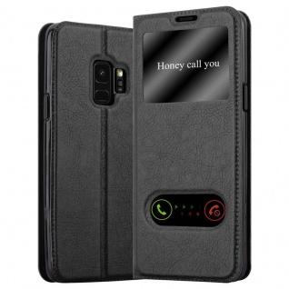 Cadorabo Hülle für Samsung Galaxy S9 in KOMETEN SCHWARZ - Handyhülle mit Magnetverschluss, Standfunktion und 2 Sichtfenstern - Case Cover Schutzhülle Etui Tasche Book Klapp Style