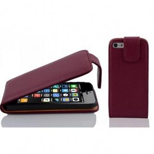 Cadorabo Hülle für Apple iPhone 5C in BORDEAUX LILA - Handyhülle im Flip Design aus strukturiertem Kunstleder - Case Cover Schutzhülle Etui Tasche Book Klapp Style