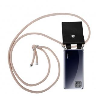 Cadorabo Handy Kette für Oppo A92s in PERLIG ROSÉGOLD Silikon Necklace Umhänge Hülle mit Silber Ringen, Kordel Band Schnur und abnehmbarem Etui Schutzhülle