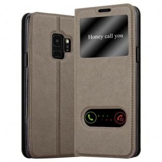 Cadorabo Hülle für Samsung Galaxy S9 in STEIN BRAUN ? Handyhülle mit Magnetverschluss, Standfunktion und 2 Sichtfenstern ? Case Cover Schutzhülle Etui Tasche Book Klapp Style