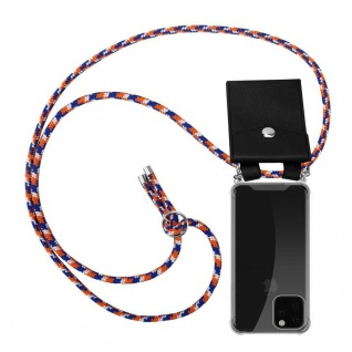 Cadorabo Handy Kette für Apple iPhone 11 PRO MAX (XI PRO MAX) in ORANGE BLAU WEISS - Silikon Necklace Umhänge Hülle mit Silber Ringen, Kordel Band Schnur und abnehmbarem Etui - Schutzhülle