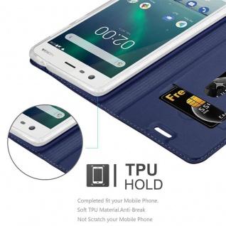 Cadorabo Hülle für Nokia 2 2017 in CLASSY DUNKEL BLAU - Handyhülle mit Magnetverschluss, Standfunktion und Kartenfach - Case Cover Schutzhülle Etui Tasche Book Klapp Style - Vorschau 2