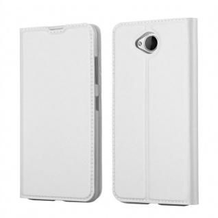 Cadorabo Hülle für Nokia Lumia 650 in CLASSY SILBER - Handyhülle mit Magnetverschluss, Standfunktion und Kartenfach - Case Cover Schutzhülle Etui Tasche Book Klapp Style