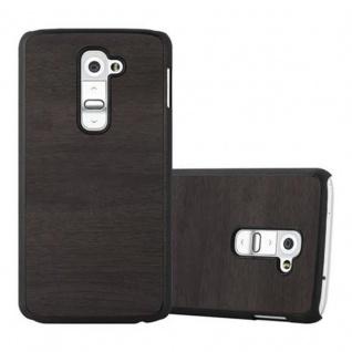 Cadorabo Hülle für LG G2 in WOODY SCHWARZ - Hardcase Handyhülle aus Plastik gegen Kratzer und Stöße - Schutzhülle Bumper Ultra Slim Back Case Hard Cover