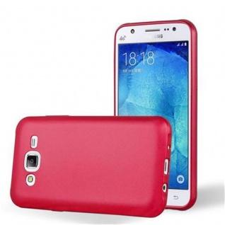 Cadorabo Hülle für Samsung Galaxy J5 2015 in METALLIC ROT - Handyhülle aus flexiblem TPU Silikon - Silikonhülle Schutzhülle Ultra Slim Soft Back Cover Case Bumper