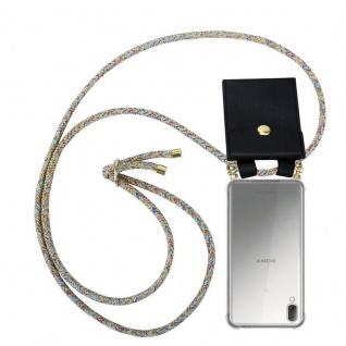 Cadorabo Handy Kette für Sony Xperia L3 in RAINBOW - Silikon Necklace Umhänge Hülle mit Gold Ringen, Kordel Band Schnur und abnehmbarem Etui ? Schutzhülle