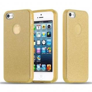 Cadorabo Hülle für Apple iPhone 5 / iPhone 5S / iPhone SE - Hülle in STERNENSTAUB GOLD - TPU Silikon und Hardcase Handyhülle im Glitzer Design - Hard Case TPU Silikon Schutzhülle