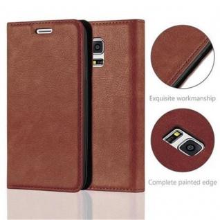 Cadorabo Hülle für Samsung Galaxy S5 MINI / S5 MINI DUOS in CAPPUCCINO BRAUN - Handyhülle mit Magnetverschluss, Standfunktion und Kartenfach - Case Cover Schutzhülle Etui Tasche Book Klapp Style - Vorschau 2