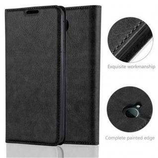 Cadorabo Hülle für Nokia Lumia 650 in NACHT SCHWARZ - Handyhülle mit Magnetverschluss, Standfunktion und Kartenfach - Case Cover Schutzhülle Etui Tasche Book Klapp Style - Vorschau 2
