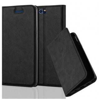 Cadorabo Hülle für Honor 9 in NACHT SCHWARZ - Handyhülle mit Magnetverschluss, Standfunktion und Kartenfach - Case Cover Schutzhülle Etui Tasche Book Klapp Style