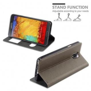 Cadorabo Hülle für Samsung Galaxy NOTE 3 in STEIN BRAUN ? Handyhülle mit Magnetverschluss, Standfunktion und 2 Sichtfenstern ? Case Cover Schutzhülle Etui Tasche Book Klapp Style - Vorschau 5