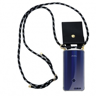 Cadorabo Handy Kette für Honor 8 / Honor 8 Premium in SCHWARZ SILBER Silikon Necklace Umhänge Hülle mit Gold Ringen, Kordel Band Schnur und abnehmbarem Etui Schutzhülle
