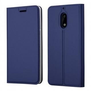 Cadorabo Hülle für Nokia 6 2017 in CLASSY DUNKEL BLAU - Handyhülle mit Magnetverschluss, Standfunktion und Kartenfach - Case Cover Schutzhülle Etui Tasche Book Klapp Style
