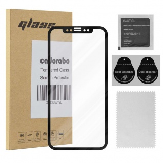 Cadorabo Vollbild Panzer Folie für Apple iPhone X / XS - Schutzfolie in TRANSPARENT mit SCHWARZ - Gehärtetes (Tempered) Display-Schutzglas in 9H Härte mit 3D Touch Kompatibilität